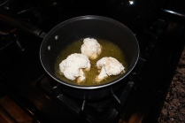 Frying the cauliflower